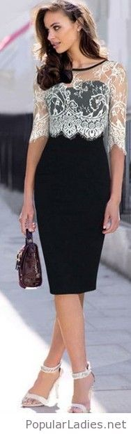 Fashion Lace Spliced Half Sleeve Slim Fit Pencil Dress In Black Elegance~ Pencil Dress Outfit, Dress Outfits, Fashion Dresses, Dress Up, Work Outfits, Dress Clothes, Bodycon Fashion, Fancy Dress, Pink Dress