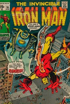 Iron Man 36 April 1971 Issue Marvel Comics Grade by ViewObscura Marvel Comics Superheroes, Marvel Comic Books, Comic Books Art, Comic Art, Ms Marvel, Captain Marvel, Old Comics, Vintage Comics, Vintage Posters