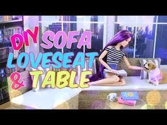 DIY - How to Make: Doll Sofa Love Seat and Table | Indoor Outdoor Furniture | Doll Crafts - YouTube