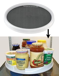 #2. Put a lazy susan in your fridge to easily access all of your condiments and jars. | 11 Brilliant Fridge Organization Ideas