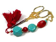 Scissor Fob Beaded Turquoise Red by TJBdesigns on Etsy, $18.00