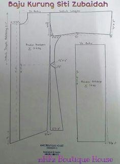 Kurung siti zubaidah Sewing Art, Dress Sewing Patterns, Clothing Patterns, Sewing Lessons, Sewing Hacks, Sewing Tutorials, Sewing Ideas, Sewing Projects, Abaya Pattern