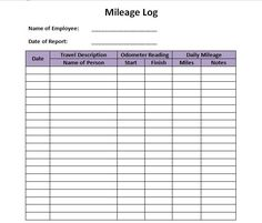 Mileage Log Template Mileage Record Forms  All Form Templates