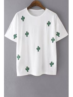 Round Collar Short Sleeve Embroidery T Shirt #womensfashion #pinterestfashion #buy #fun#fashion
