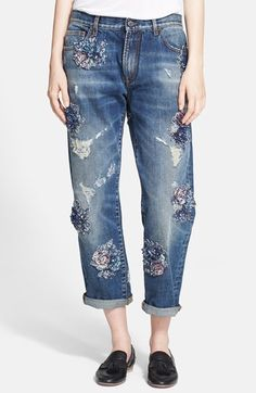 """Free shipping and returns on MSGM Embellished Boyfriend Jeans at Nordstrom.com. <p><B STYLE=""""COLOR:#990000"""">Pre-order this style from the Fall 2014 collection! Limited quantities. Ships as soon as available. You'll be charged only when your item ships.</b></P><br>Super-slouchy boyfriend jeans balance casual cool with girly glam by mixing ripped, threadbare patches and sequin-embroidered floral appliqués."""