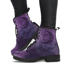 --- Purple Moon Mandala Womens Boots, Vegan Leather, Boho Chic Bohemian Boots, Astronomy A Bohemian Boots, Hippie Boots, Boho Chic, Purple Elephant, Unique Boots, Custom Boots, Textiles, Vegan Shoes, Boots
