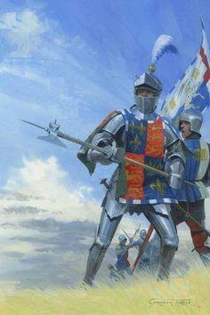 Medieval and Military Art by Graham Turner - Original Tewkesbury Medieval Festival Poster Paintings Medieval Knight, Medieval Armor, Medieval Fantasy, Richard Iii, Military Art, Military History, Larp, Armadura Medieval, Landsknecht