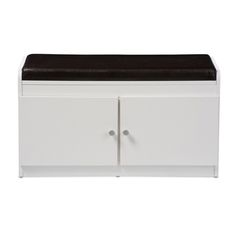 Margaret White Shoe Cabinet with Faux Leather Seating Bench by Baxton Studio . Featuring modern and contemporary design, this fantastic 2-door shoe cabinet with cushioned seating bench combines storage with style. The shoe cabinet is complemented by the soft, curved edges for an sleek appearance. Constructed of engineered wood, the shoe cabinet is finished with white faux wood grain veneer for practical everyday use. The two pulled out doors with silver hardware reveal maximum storage space…