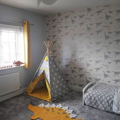 Boy's Dinosaur Wallpaper Bedroom Look at this beautiful room as shared by - it's brimming full of cool dinosaurs. The dinosaur wallpaper is our 'D'ya-think-e-saurus' in white & silver. We absolutely LOVE it xx