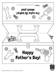 Wish dear-ol'-dad a Happy Father's Day with this free coloring page your kiddo can color all on their own! Fathers Day Cards Handmade, Kids Fathers Day Crafts, Happy Fathers Day Cards, Fathers Day Art, Fathers Day Gifts, Gifts For Kids, Diy Father's Day Gifts Easy, Father's Day Diy, Father's Day Words
