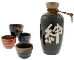 """Kotobuki """"Kizuna"""" Japanese Kanji Calligraphy Sake Set"""