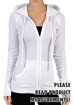 Womens Plus Size Thermal Hoodie Sweatshirt Hooded Zip up Active Kangaroo Pockets 3x White *** You can get more details by clicking on the image.
