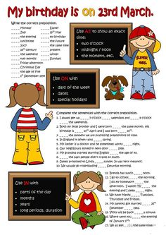A collection of English ESL Prepositions of time worksheets for home learning, online practice, distance learning and English classes to teach about English Prepositions, English Vocabulary, English Grammar, English Language, Prepositions Worksheets, Grammar Activities, English Activities, Grammar Lessons, Teaching Vocabulary