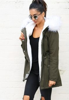 Ferne Faux Fur Trim & Lined Parka in Khaki Green with White - One Nation…