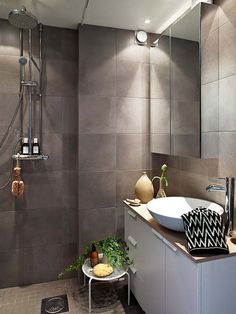 attractive polished concrete shower floor with soapstone tile bathroom wall tiles also frameless beveled mirror medicine cabinet of apartments ~ home and garden inspiration