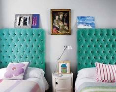 aqua velvet headboard - totally doing this for when my little girls grow into their big kid beds!! :D