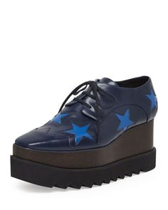 Faux-Leather Star Platform Oxford, Navy/Bluebird by Stella McCartney at Neiman Marcus.
