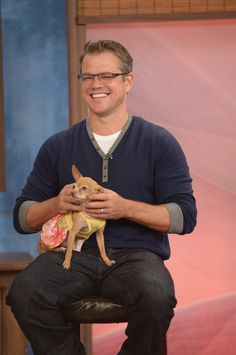 Matt Damon cradled a chihuahua during a stop on Despierta America in Miami.