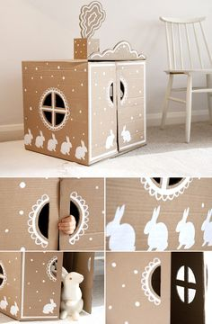 DIY: Cardboard box playhouse by UK Konooa - basteln dekoration ideas Cardboard Houses For Kids, Cardboard Box Crafts, Cardboard Playhouse, Diy Playhouse, Cardboard Toys, Cardboard Furniture, Cardboard Box Ideas For Kids, Playhouse Furniture, Cardboard Castle