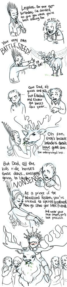 Poor Legolas- but you gotta love the moose right?  << if Thranduil doesn't ride that stupid thing into battle, I will be crushed