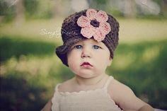 Baby Girl Hat, Little Girl Hat, Crochet Newsboy Hat for Girls, Crochet Baby Hats, Brown, Pink, Cotton, 6 to 12 Months. $30.00, via Etsy.