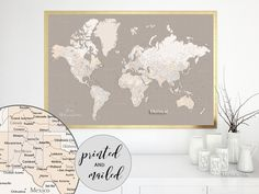Personalized world map canvas print or push pin map colorful personalized world map canvas print or push pin map colorful gradient watercolor world map with cities maxwell watercolors print and canvas gumiabroncs Choice Image