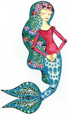 Hand painted mermaid paper doll articulated with brads by mirkadolls Mermaid Fairy, Mermaid Tale, Fantasy Mermaids, Mermaids And Mermen, Art Vampire, Vampire Knight, Mythical Creatures, Sea Creatures, Illustrations