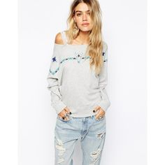 Denim & Supply By Ralph Lauren Beaded Sweatshirt (375 BRL) ❤ liked on Polyvore featuring tops, hoodies, sweatshirts, grey, beaded top, grey sweatshirt, gray sweatshirt, grey top and gray top