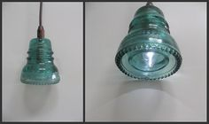 DIY pendant light made from old glass insulators.