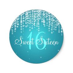 Sweet Sixteen Night Dazzle Blue Classic Round Sticker