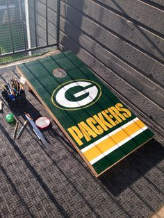 Giant Yard Games, Bean Bag Boards, Bags Game, Sport Craft, Corn Hole Game, Painted Boards, Cornhole Boards, Craft Night, Green Bay Packers