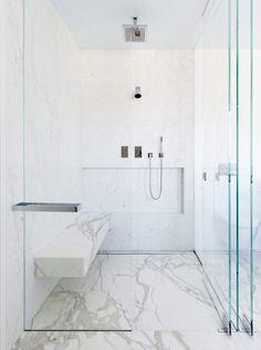 Bath Room, Marble Counter, and Corner Shower Private Residence 4 by Eva Hagberg Fisher Bathroom Interior Design, Decor Interior Design, Interior Decorating, Modern Shower, Modern Bathroom, Cedar Paneling, Contemporary Bathroom Designs, Attic Bathroom, Bathroom Vanities