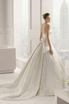 A simple elegant silk ball gown wedding dress by Rosa Clara, 2015
