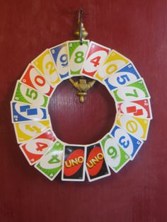 UNO themed first birthday party- UNO card wreath
