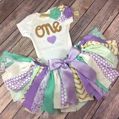 3 Piece Lavender Purple Mint / Teal / Aqua Gold Birthday