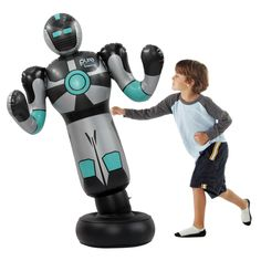 Standing over 4-foot tall, the Robo Boxer is ready to take a pounding, but watch out, he does hit back with his over-sized swinging arms. The Robo Boxer will not only entertain your kids, he will also get them into shape and help increase agility.