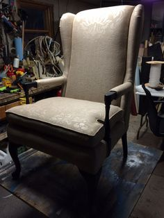 Greystone Fine Furniture - Vintage black painted wood framed wingback chair with taupe damask fab