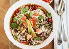 This fragrant Vietnamese soup is a fast and easy way to use up leftover cooked salmon