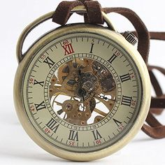 TODDCAHALAN Skeleton Pocket Watch Mechanical Movement Hand Wind half Hunter Engraved F016 for only $12.50 You save: $17.49 (58%)