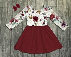 ee26b8c645 Ella Floral Dress ~ Unique look for thanksgiving or Christmas. Great prices  at Lilly Bow Peep! Check them out!