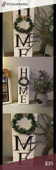 """White distressed HOME Sign Item is painted with white chalk paint, distressed and sealed. Letters are black. The """" O"""" is a green wreath glued to board. This is a hand made item. Turnaround is 2 days. Other"""
