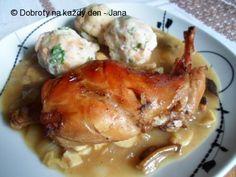 Recept Houbovo-vínový králík - Naše Dobroty na každý den Chicken, Meat, Kitchen, Cucina, Cooking, Kitchens, Buffalo Chicken, Stove, Cuisine