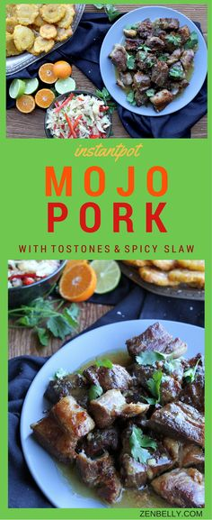Instantpot Crispy Mojo Pork Shoulder with Spicy Slaw - zenbelly
