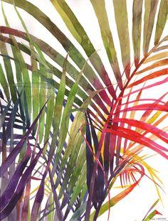 My Sister Painted Colourful Watercolour Jungle - LEGER(Watercolor/Aquarelle/水彩) - Canvas Artwork, Canvas Prints, Art Prints, Watercolor Flowers, Watercolor Paintings, Watercolors, Art Tropical, Tropical Leaves, Tropical Plants