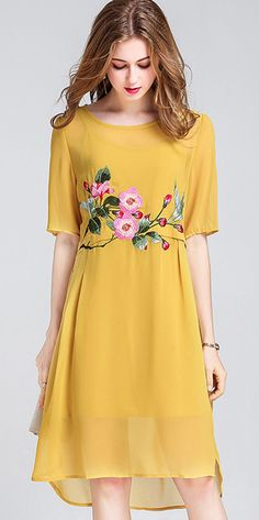 Vintage Embroidery O-Neck Big Hem Shift Dress