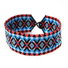 Seed bead peyote bracelet for women Unique beaded bracelet Ethnic boho bracelet Beaded cuff bracelet Colorful bracelet Beadwoven jewelry by HappyBeadwork on Etsy https://www.etsy.com/listing/276094632/seed-bead-peyote-bracelet-for-women