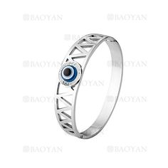 pulsera de ojo suerte azul en acero plateado inoxidable -SSBTG924171