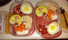Bento Lunch box idea 9-14-15 Ham & Cheese rollups Deviled egg Carrots w/ ranch Applesauce Strawberries