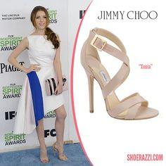 c2c4921eeea Anna Kendrick in Jimmy Choo Xenia Nude Suede Strappy Sandals - ShoeRazzi
