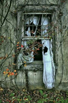 """Enjoy these 32 """"Creepy Abandoned Windows and Doors"""". It's no wonder we find these broken windows and doors creepy yet compelling. Abandoned Mansions, Abandoned Houses, Abandoned Places, Old Houses, Creepy Houses, Derelict Buildings, Broken Window, Haunted Places, Vanitas"""